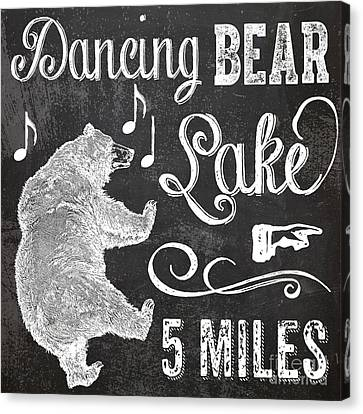 Dancing Bear Lake Rustic Cabin Sign Canvas Print by Mindy Sommers