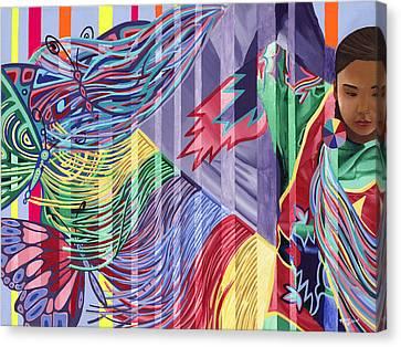 Dancing Butterflies Canvas Print by Tyrone Whitehawk