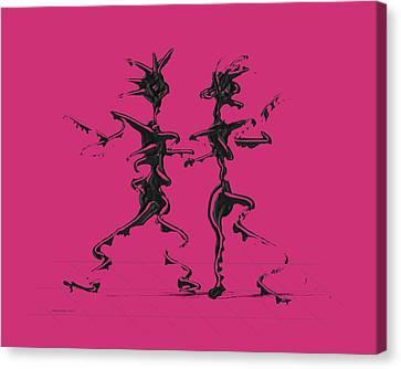 Dancing Couple 2 - Pink Yarrow Canvas Print by Manuel Sueess