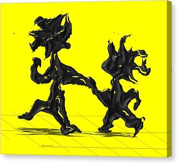 Dancing Couple 6 - Yellow Canvas Print by Manuel Sueess