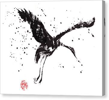 Dancing Crane Canvas Print by Oiyee At Oystudio