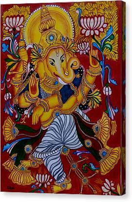 Dancing Ganapathi Canvas Print by Silpa Saseendran