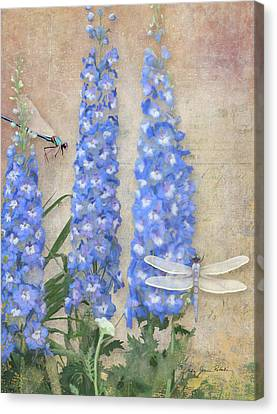Dancing In The Wind - Damselfly N Dragonfly W Delphinium Canvas Print by Audrey Jeanne Roberts