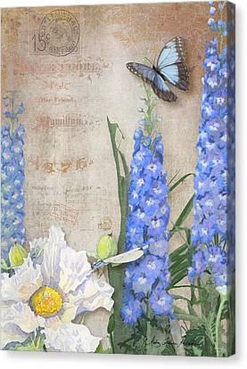 Dancing In The Wind - Damselfly N Morpho Butterfly W Delphinium Canvas Print by Audrey Jeanne Roberts