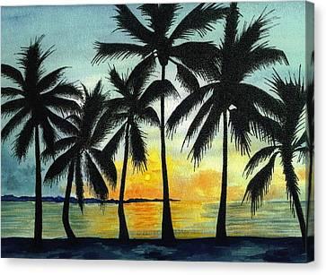 Dancing Palms Canvas Print by Michael Vigliotti