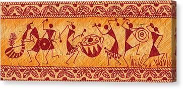 Dancing Warlis Canvas Print by Subhash Limaye