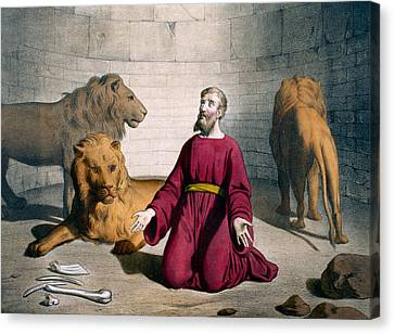 Daniel In The Lions' Den Canvas Print by Bequet