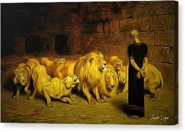 Daniel In The Lions' Den - Da Canvas Print by Leonardo Digenio