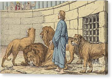 Daniel In The Lions' Den Canvas Print by French School