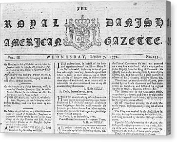 Danish West Indies 1772 Canvas Print by Granger