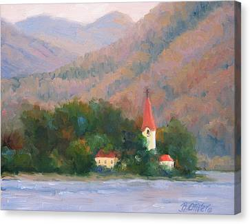 Danube Autumn Canvas Print by Bunny Oliver