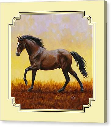 Dark Bay Running Horse Yellow Canvas Print by Crista Forest
