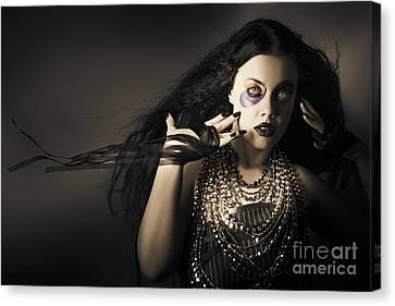 Dark Beauty Woman. Rich Jewellery And Black Nails Canvas Print by Jorgo Photography - Wall Art Gallery