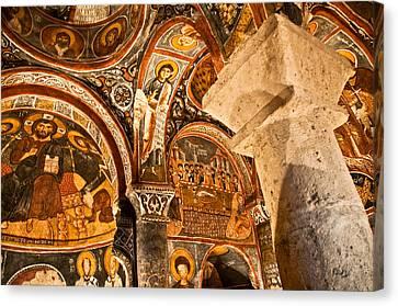 Dark Cave Church Byzantine Frescoes Canvas Print by Denise Lett