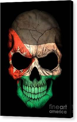 Dark Jordanian Flag Skull Canvas Print by Jeff Bartelns