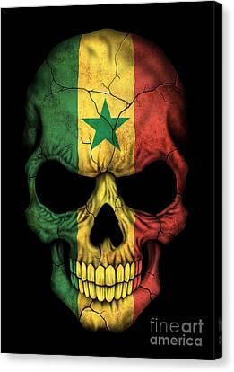 Dark Senegal Flag Skull Canvas Print by Jeff Bartels
