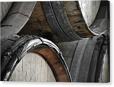 Dark Wine Barrels To Store Vintage Wine Canvas Print by Brandon Bourdages