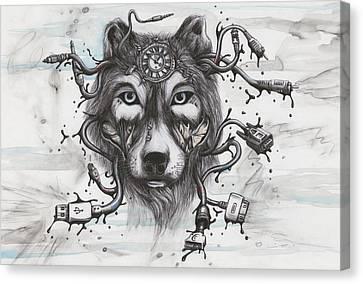 Data Wolf Canvas Print by Tai Taeoalii