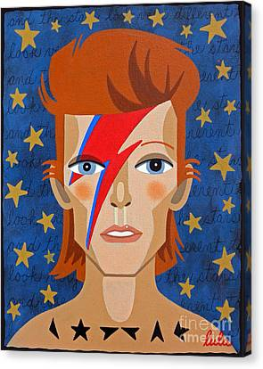 David Bowie Aladdin Sane Canvas Print by LuLu Mypinkturtle