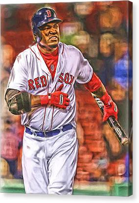 David Ortiz Boston Red Sox Oil Art 3 Canvas Print by Joe Hamilton