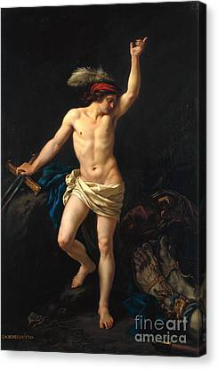 David Victorious Canvas Print by Jean Jacques II Lagrenee