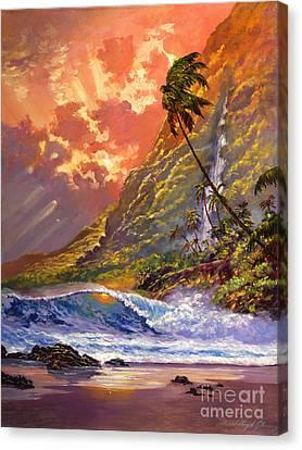 Dawn In Oahu Canvas Print by David Lloyd Glover