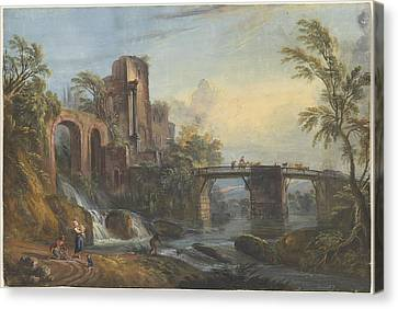 Dawn Landscape With Classical Ruins Canvas Print by Jean-baptiste Lallemand