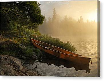 Dawn On Boot Lake Canvas Print by Larry Ricker