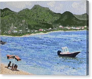 Day At The Beach Canvas Print by Margaret Brooks
