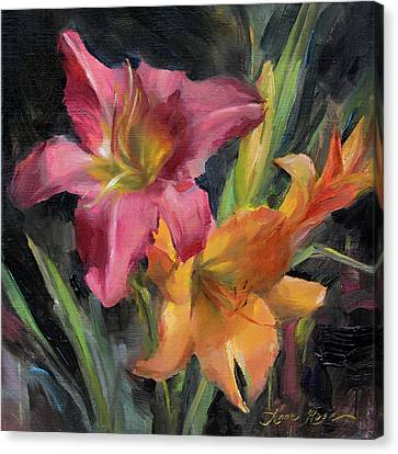 Day Lilies Canvas Print by Anna Rose Bain