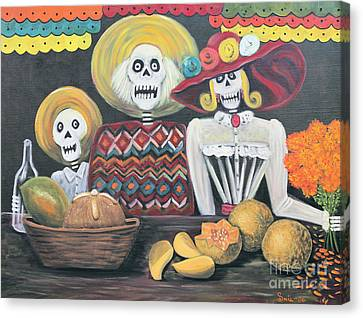 Day Of The Dead Family Canvas Print by Sonia Flores Ruiz