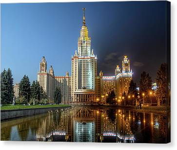 Day To Night At Lomonosov Moscow State University Canvas Print by Alexey Kljatov
