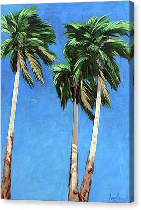 Daytime Moon In Palm Springs Canvas Print by Linda Apple