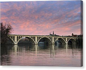 Dc Sunrise Over The Potomac River Canvas Print by Brendan Reals