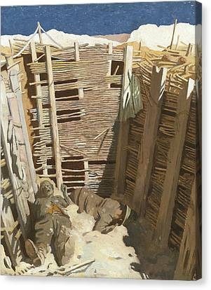 Dead Germans In A Trench Canvas Print by William Orpen