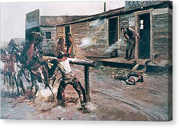 Death Of A Gambler Canvas Print by Charles Marion Russell