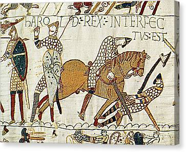 Death Of Harold, Bayeux Tapestry Canvas Print by Photo Researchers