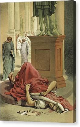 Death Of Julius Caesar, Rome, 44 Bc  Canvas Print by Spanish School
