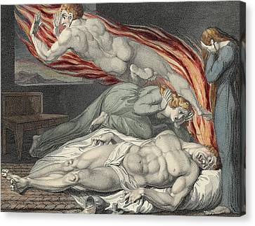 Death Of The Strong Wicked Man Canvas Print by Sir William Blake