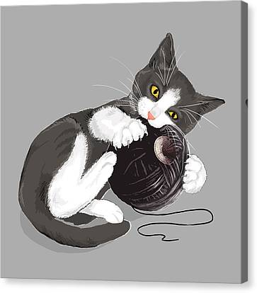 Death Star Kitty Canvas Print by Olga Shvartsur