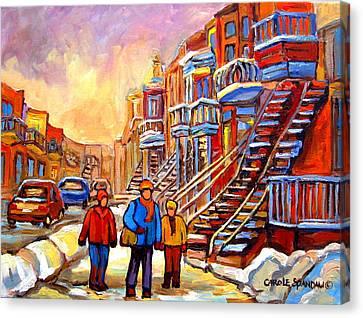 Debullion Street Winter Walk Canvas Print by Carole Spandau