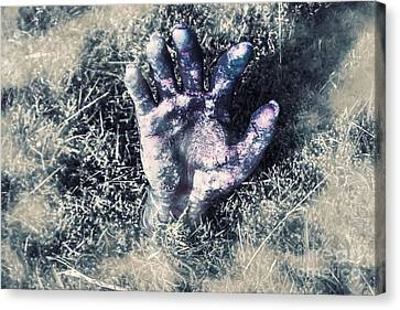 Decaying Zombie Hand Emerging From Ground Canvas Print by Jorgo Photography - Wall Art Gallery