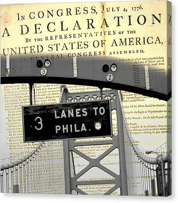 Declaration Of Independence Ben Franklin Bridge Canvas Print by Brandi Fitzgerald