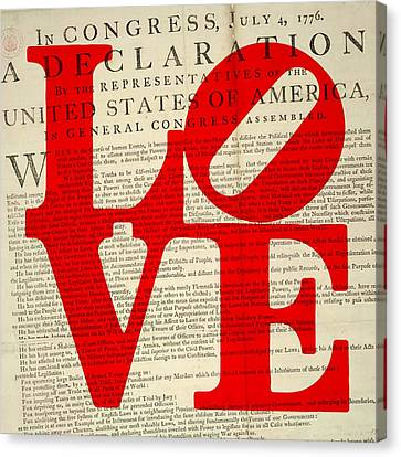 Declaration Of Independence Love Canvas Print by Brandi Fitzgerald