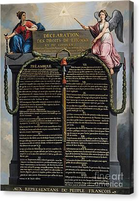 Declaration Of The Rights Of Man And Citizen Canvas Print by French School