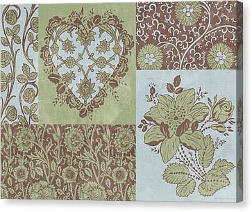 Deco Heart Sage Canvas Print by JQ Licensing