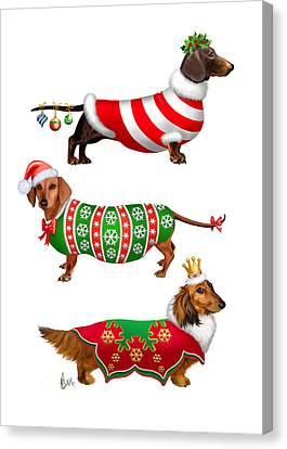 Decorative Dachshunds Canvas Print by Michelle Guillot