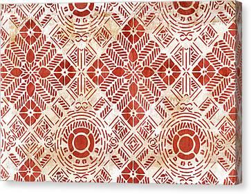 Decorative Vintage Pattern Sanguine Red Canvas Print by Frank Tschakert