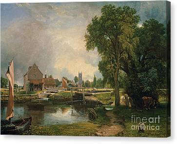 Dedham Lock And Mill Canvas Print by John Constable