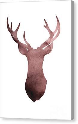 Deer Antlers Silhouette Minimalist Painting Canvas Print by Joanna Szmerdt